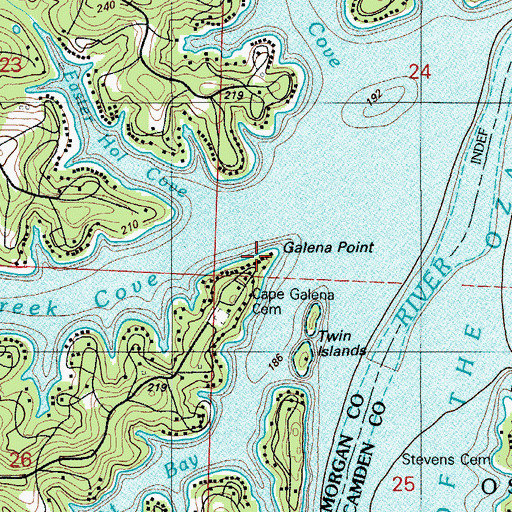 Topographic Map of Galena Point, MO