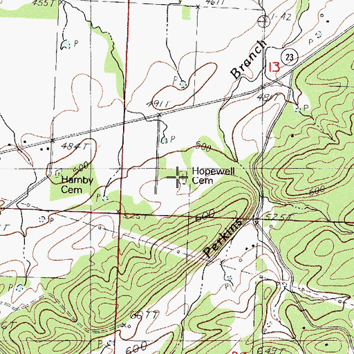 Topographic Map of Hopewell Cemetery, AR