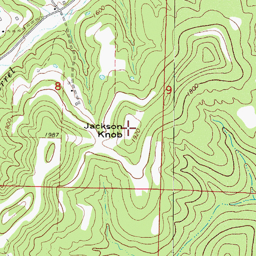 Topographic Map of Jackson Knob, AR