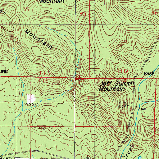 Topographic Map of Jeff Summit Mountain, AR