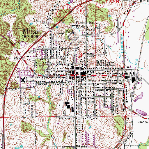 Topographic Map of Milan, MO