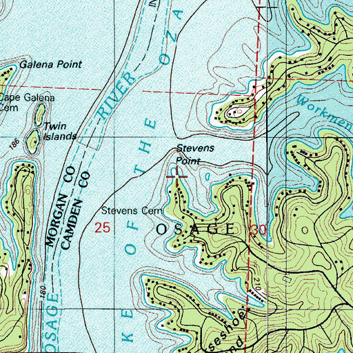 Topographic Map of Stevens Point, MO