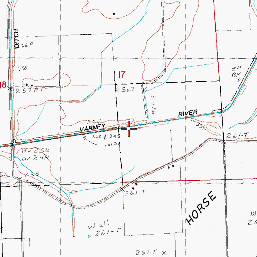 Topographic Map of Varney River Canal, MO