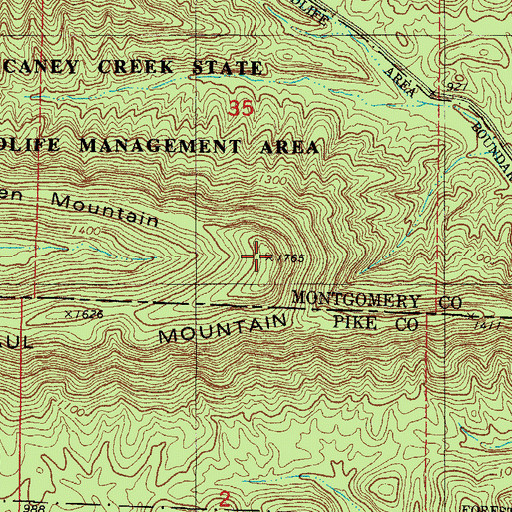Topographic Map of Paul Mountain, AR