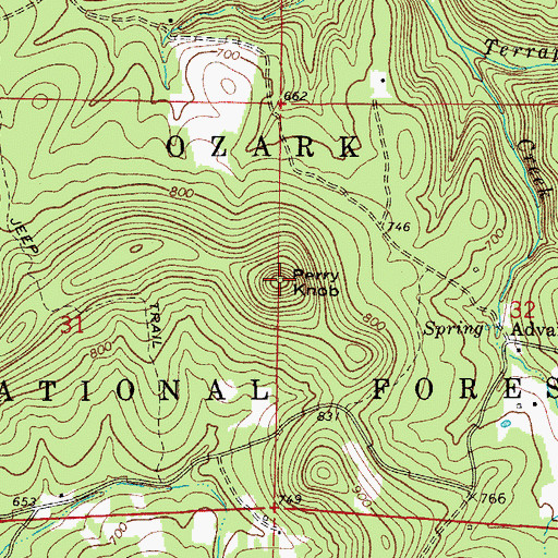 Topographic Map of Perry Knob, AR
