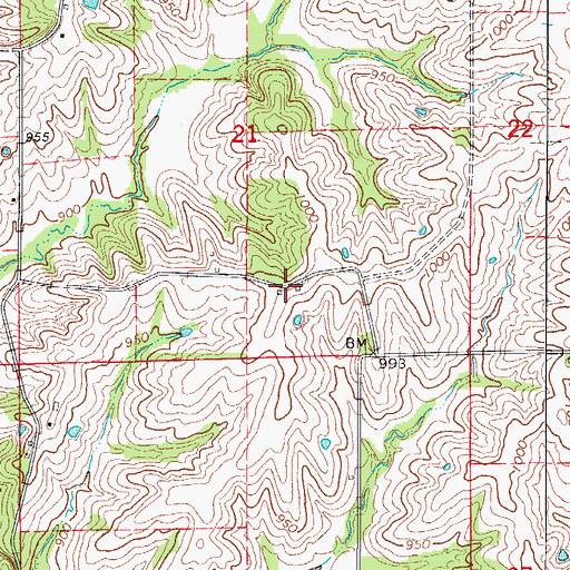 Topographic Map of Reed School (historical), MO