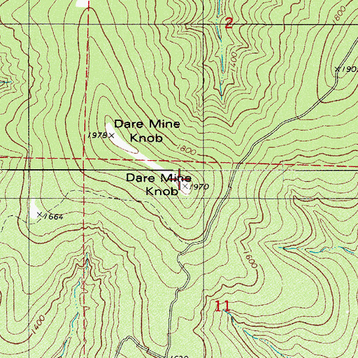 Topographic Map of Dare Mine Knob, AR