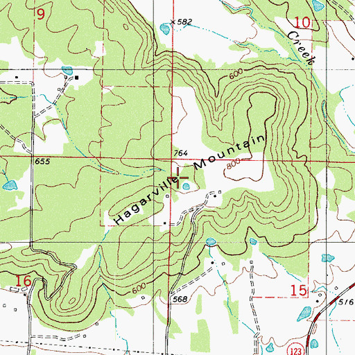 Topographic Map of Hagerville Mountain, AR