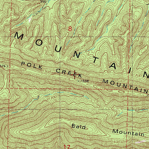 Topographic Map of Polk Creek Mountain, AR