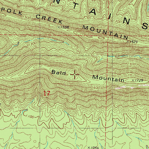 Topographic Map of Bald Mountain, AR