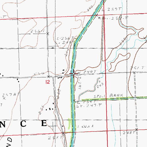 Topographic Map of Ditch Number 19, MO