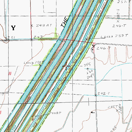 Topographic Map of Ditch Number 259, MO