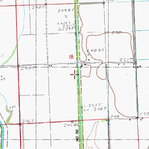 Topographic Map of Ditch Number 36, MO