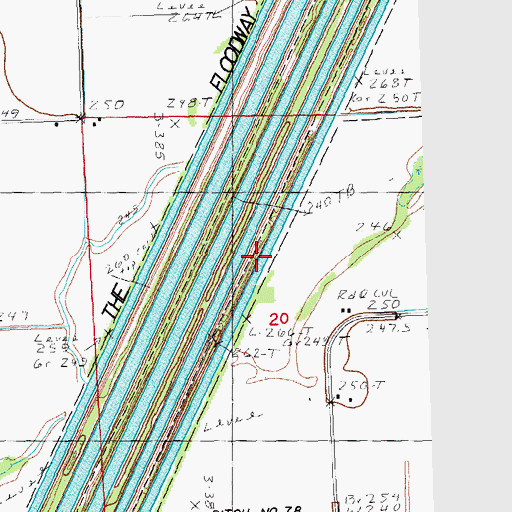 Topographic Map of Ditch Number 66, MO