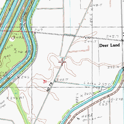Topographic Map of Ditch Number 79, MO