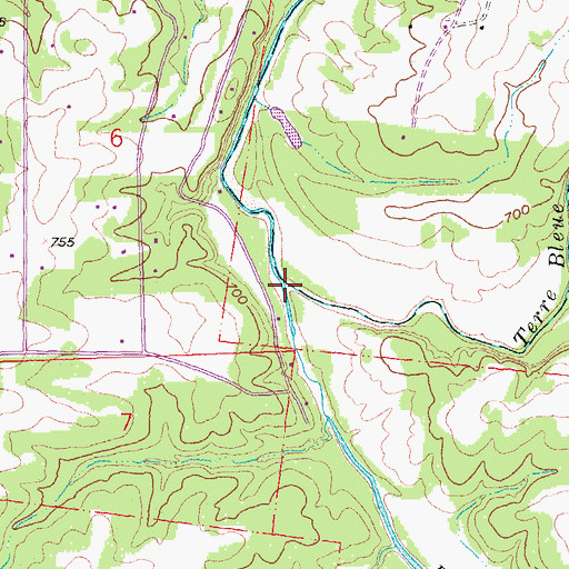Topographic Map of Terre Bleue Creek, MO