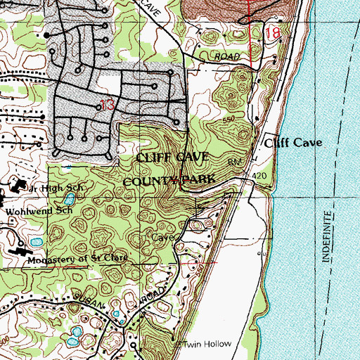 Cliff Topographic Map.Cliff Cave County Park Mo