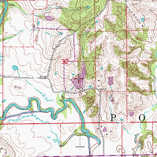 Topographic Map of Detwiller Lake, MO