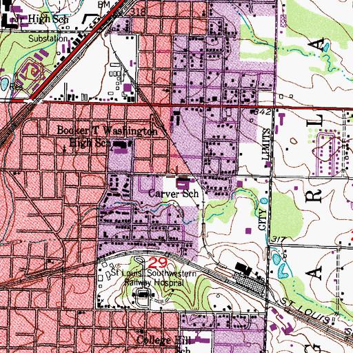 Topographic Map of Carver School, AR