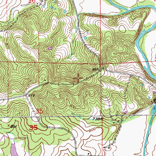 Topographic Map of Township of Brush Creek, MO