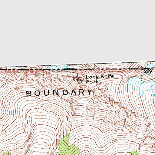 Topographic Map of Long Knife Peak, MT