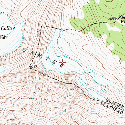 Topographic Map of Carter Glaciers, MT