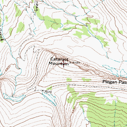 Topographic Map of Cataract Mountain, MT