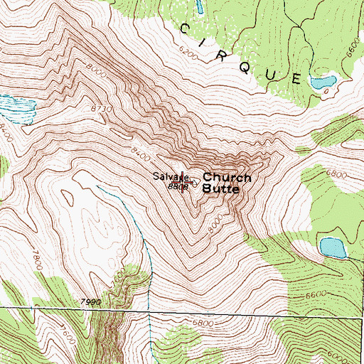 Topographic Map of Church Butte, MT