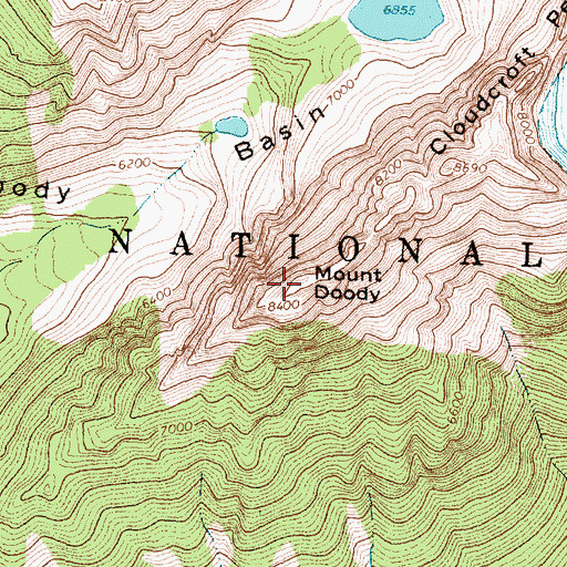 Topographic Map of Mount Doody, MT
