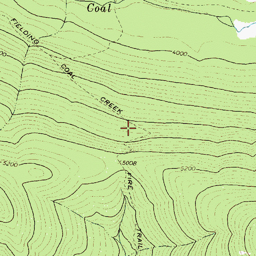 Topographic Map of Fielding Coal Creek Fire Trail, MT