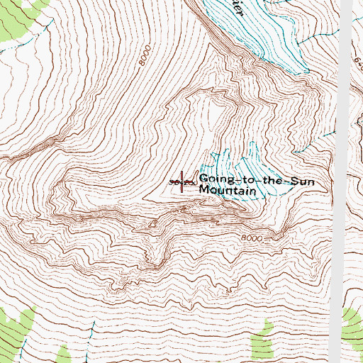 Topographic Map of Going-to-the-Sun Mountain, MT