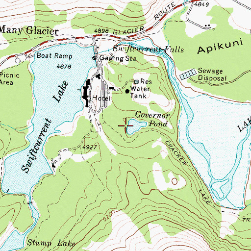 Topographic Map of Governor Pond, MT