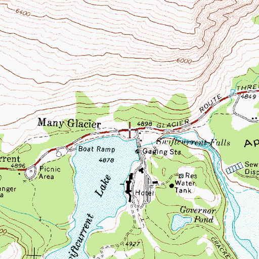 Topographic Map of Many Glacier, MT