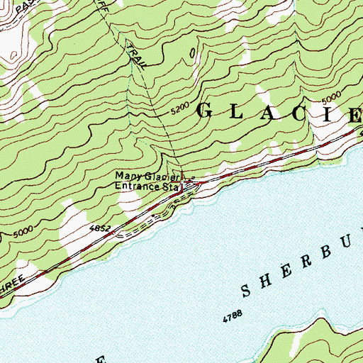 Topographic Map of Many Glacier Entrance Station, MT