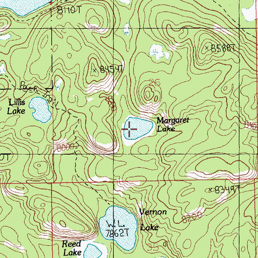 Topographic Map of Margaret Lake, MT