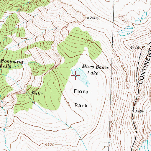 Topographic Map of Mary Baker Lake, MT