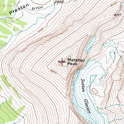 Topographic Map of Matahpi Peak, MT