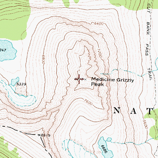 Topographic Map of Medicine Grizzly Peak, MT
