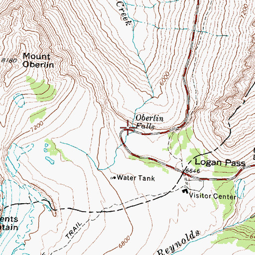 Topographic Map of Oberlin Falls, MT