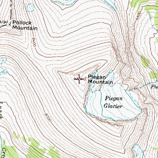Topographic Map of Piegan Mountain, MT