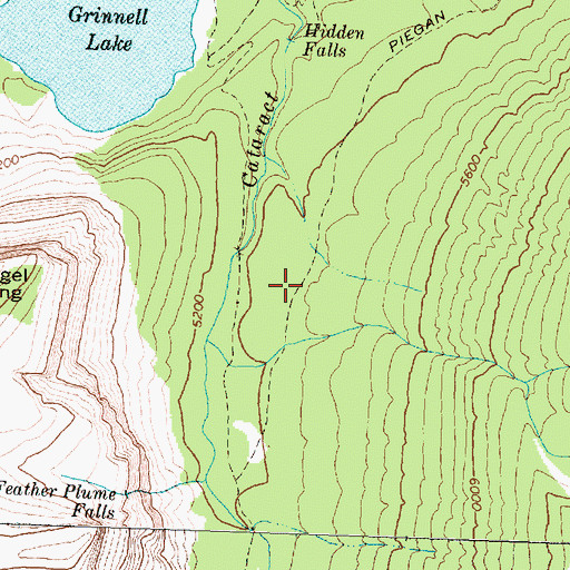 Topographic Map of Piegan Pass Trail, MT