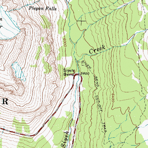 Topographic Map of Siyeh Bend, MT