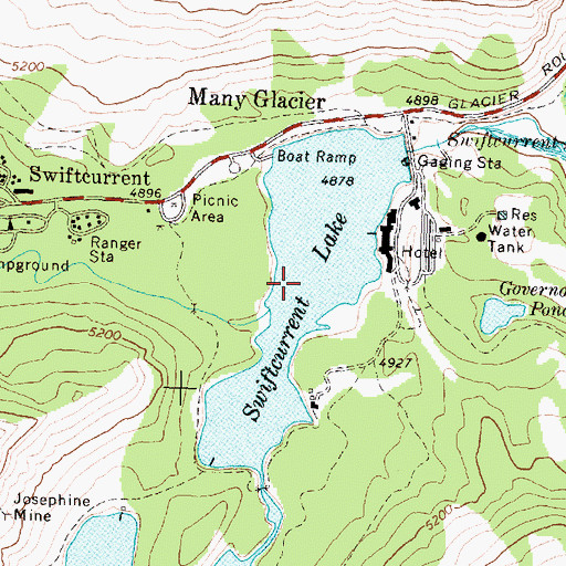 Topographic Map of Swiftcurrent Lake, MT