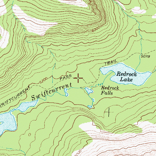 Topographic Map of Swiftcurrent Pass Trail, MT