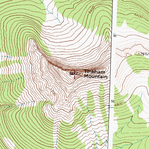 Topographic Map of Tinkham Mountain, MT