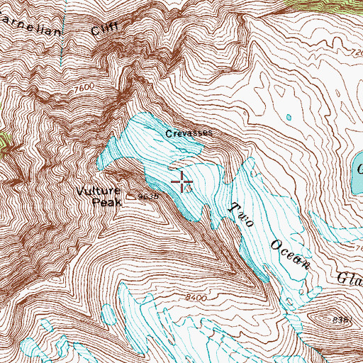 Topographic Map of Two Ocean Glacier, MT