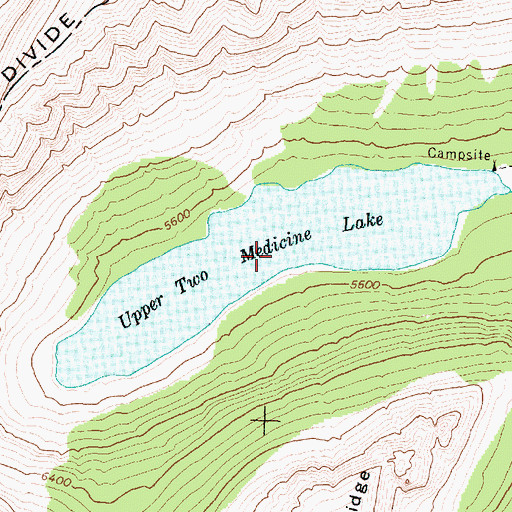 Topographic Map of Upper Two Medicine Lake, MT
