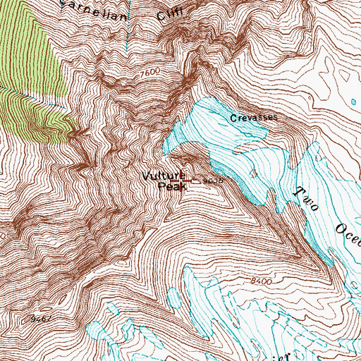 Topographic Map of Vulture Peak, MT