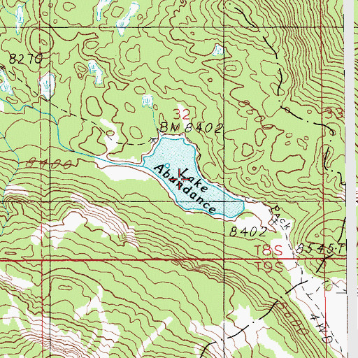 Topographic Map of Lake Abundance, MT