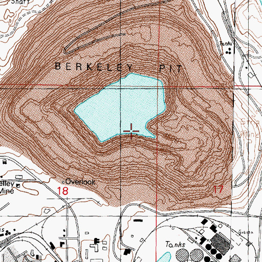 Topographic Map of Berkeley Pit, MT